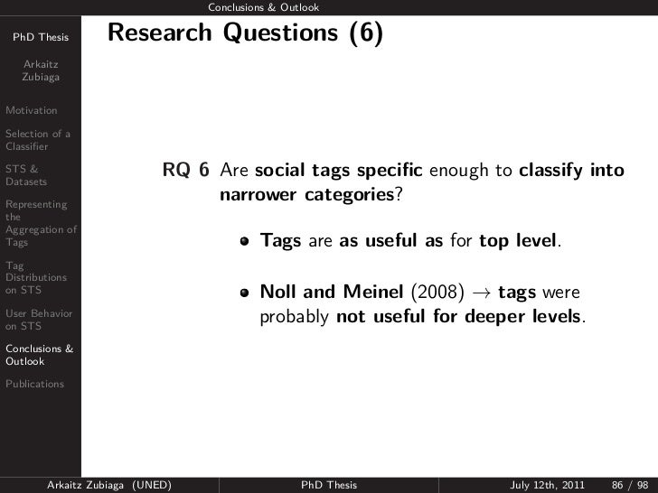 Conclusions & Outlook PhD Thesis          Research Questions (6)   Arkaitz   ZubiagaMotivationSelection of aClassifierSTS &...