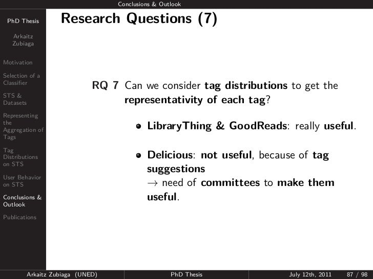 Conclusions & Outlook PhD Thesis          Research Questions (7)   Arkaitz   ZubiagaMotivationSelection of aClassifier     ...