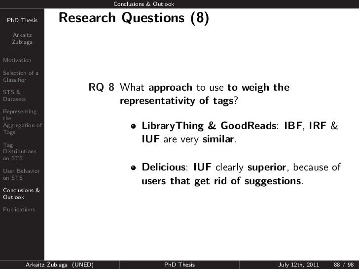 Conclusions & Outlook PhD Thesis          Research Questions (8)   Arkaitz   ZubiagaMotivationSelection of aClassifierSTS &...