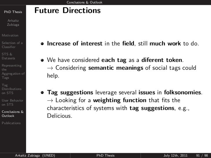 Conclusions & Outlook PhD Thesis          Future Directions   Arkaitz   ZubiagaMotivationSelection of aClassifier          ...