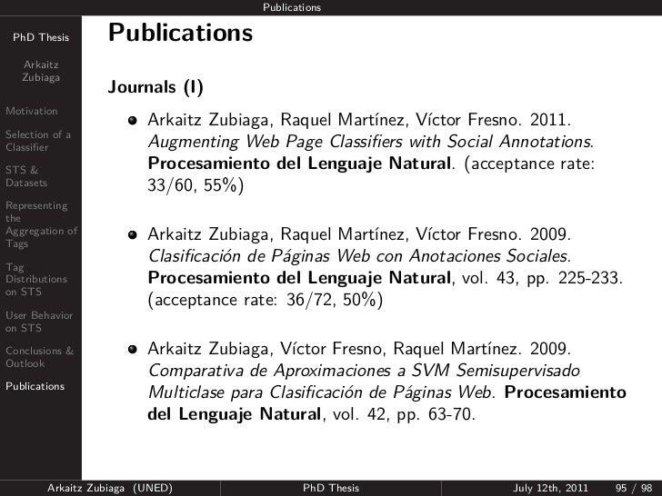 Publications PhD Thesis          Publications   Arkaitz   Zubiaga                     Journals (I)Motivation              ...