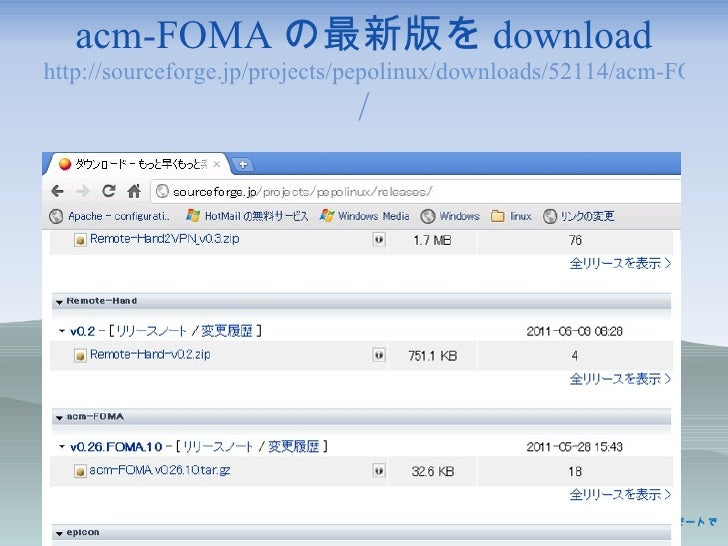 acm-FOMA の最新版を download http://sourceforge.jp/projects/pepolinux/downloads/52114/acm-FOMA.v0.26.10.tar.gz /