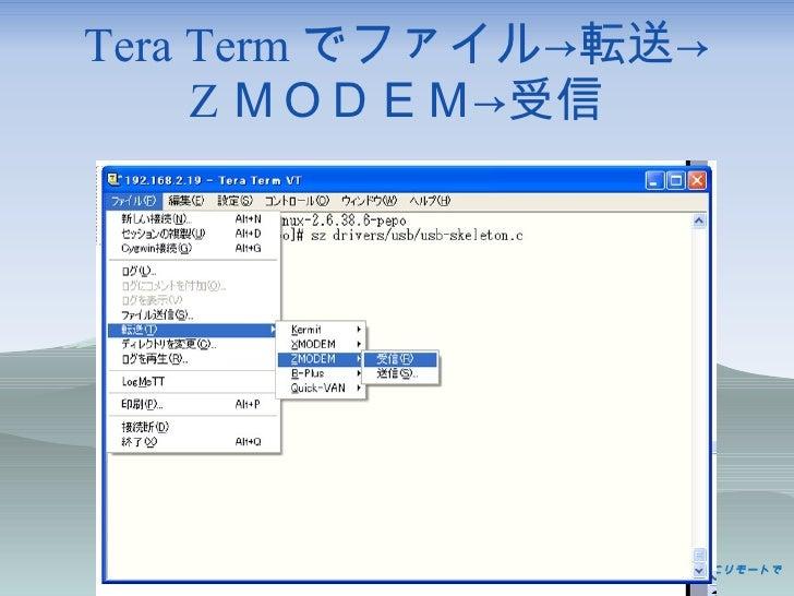 Tera Term でファイル->転送-> Z MODEM->受信