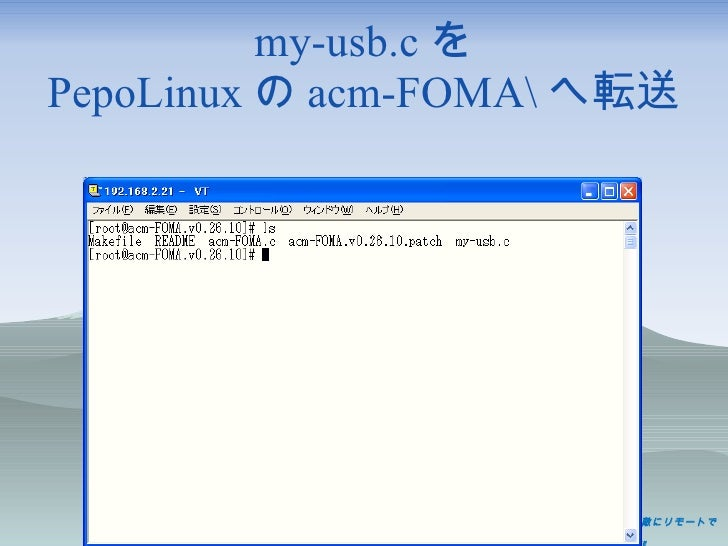 my-usb.c を PepoLinux の acm-FOMA へ転送