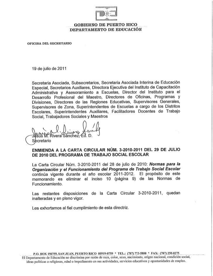 enmienda a la carta circular n u00dam  3