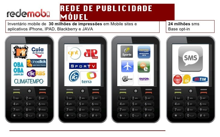 REDE DE PUBLICIDADE MÓVEL Inventário mobile de  30 milhões de impressões  em Mobile sites e aplicativos iPhone, IPAD, Blac...