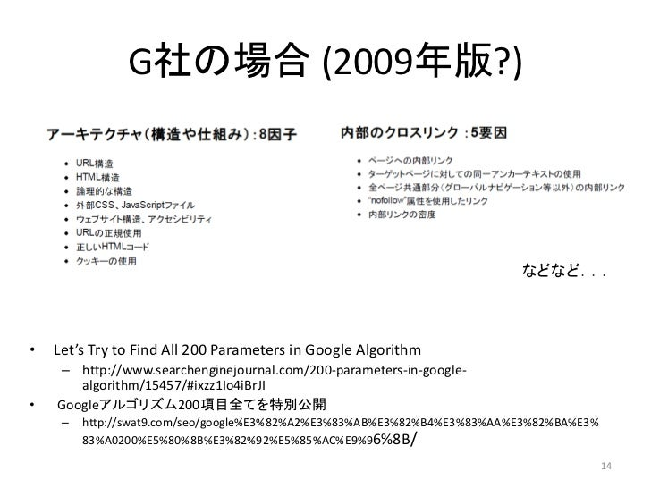 G社の場合 (2009年版?)                                                                         などなど...•   Let's Try to Find All 2...