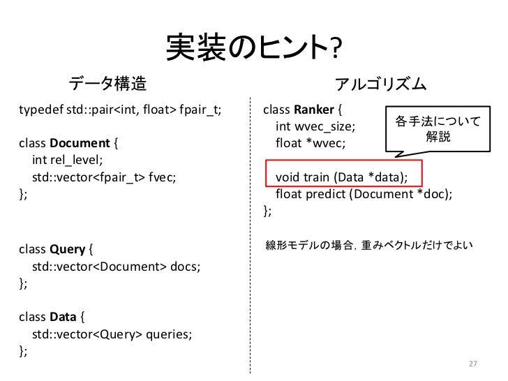 实装のヒント?         データ構造                                          アルゴリズムtypedef std::pair<int, float> fpair_t;   class Ranker...