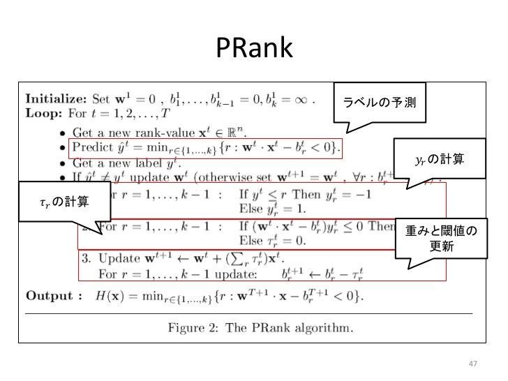 PRank                   ラベルの予測                        ������������ の計算������������ の計算                        重みと閾値の      ...