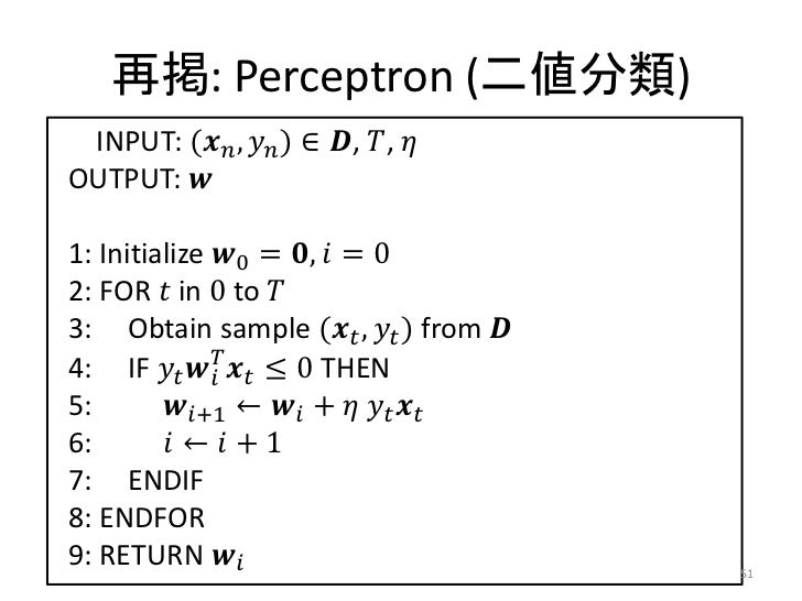 再掲: Perceptron (二値分類) INPUT: (������������ , ������������ ) ∈ ������, ������, ������OUTPUT: ������1: Initialize ������0 = ...