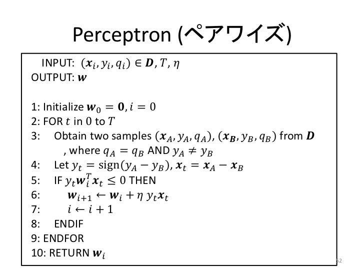 Perceptron (ペアワイズ) INPUT: (������������ , ������������ , ������������ ) ∈ ������, ������, ������OUTPUT: ������1: Initializ...