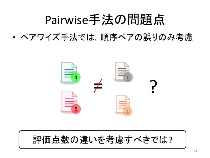 Pairwise手法の問題点• ペアワイズ手法では,順序ペアの誤りのみ考慮       4       0           =       ?       5       1  評価点数の違いを考慮すべきでは?               ...