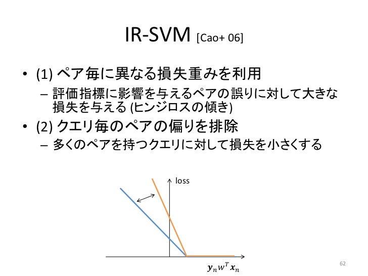 IR-SVM [Cao+ 06]• (1) ペア毎に異なる損失重みを利用 – 評価指標に影響を与えるペアの誤りに対して大きな   損失を与える (ヒンジロスの傾き)• (2) クエリ毎のペアの偏りを排除 – 多くのペアを持つクエリに対して損失を...