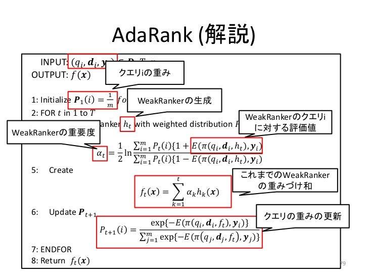 AdaRank (解説)       INPUT: (������������ , ������������ , ������������ ) ∈ ������, ������, ������      OUTPUT: ������(�����...