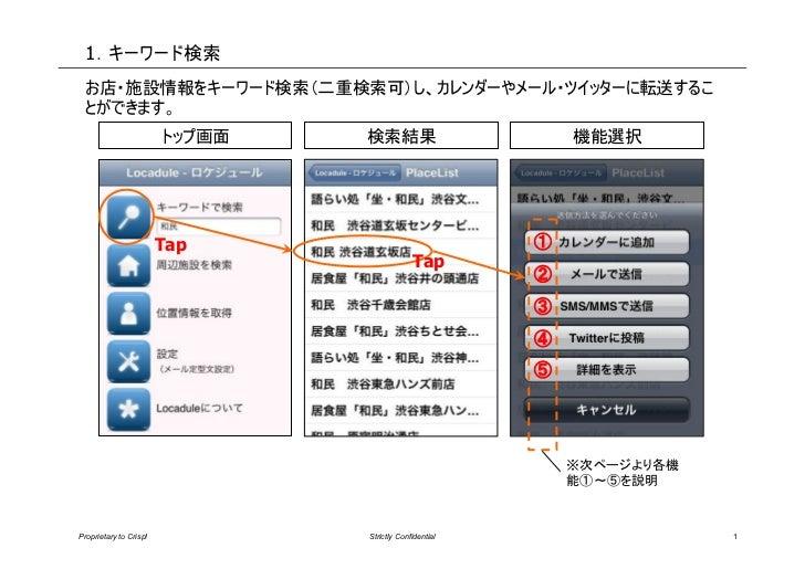 1.キーワード検索 お店・施設情報をキーワード検索(二重検索可)し、カレンダーやメール・ツイッターに転送するこ とができます。                        トップ画面   検索結果                       ...