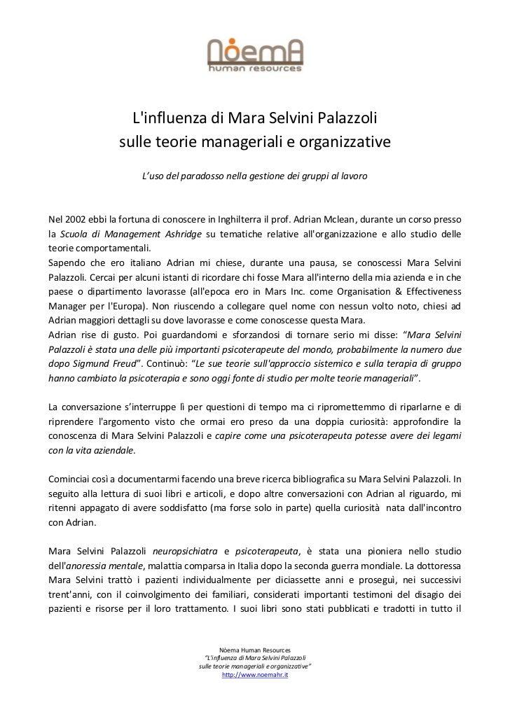 Linfluenza di Mara Selvini Palazzoli                 sulle teorie manageriali e organizzative                       L'uso ...