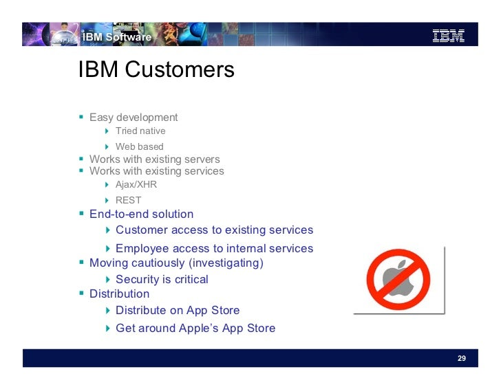 IBM Customers Easy development     Tried native     Web based Works with existing servers Works with existing se...