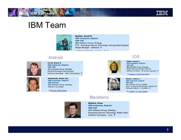 IBM Team    Android                iOS              Blackberry                                 3