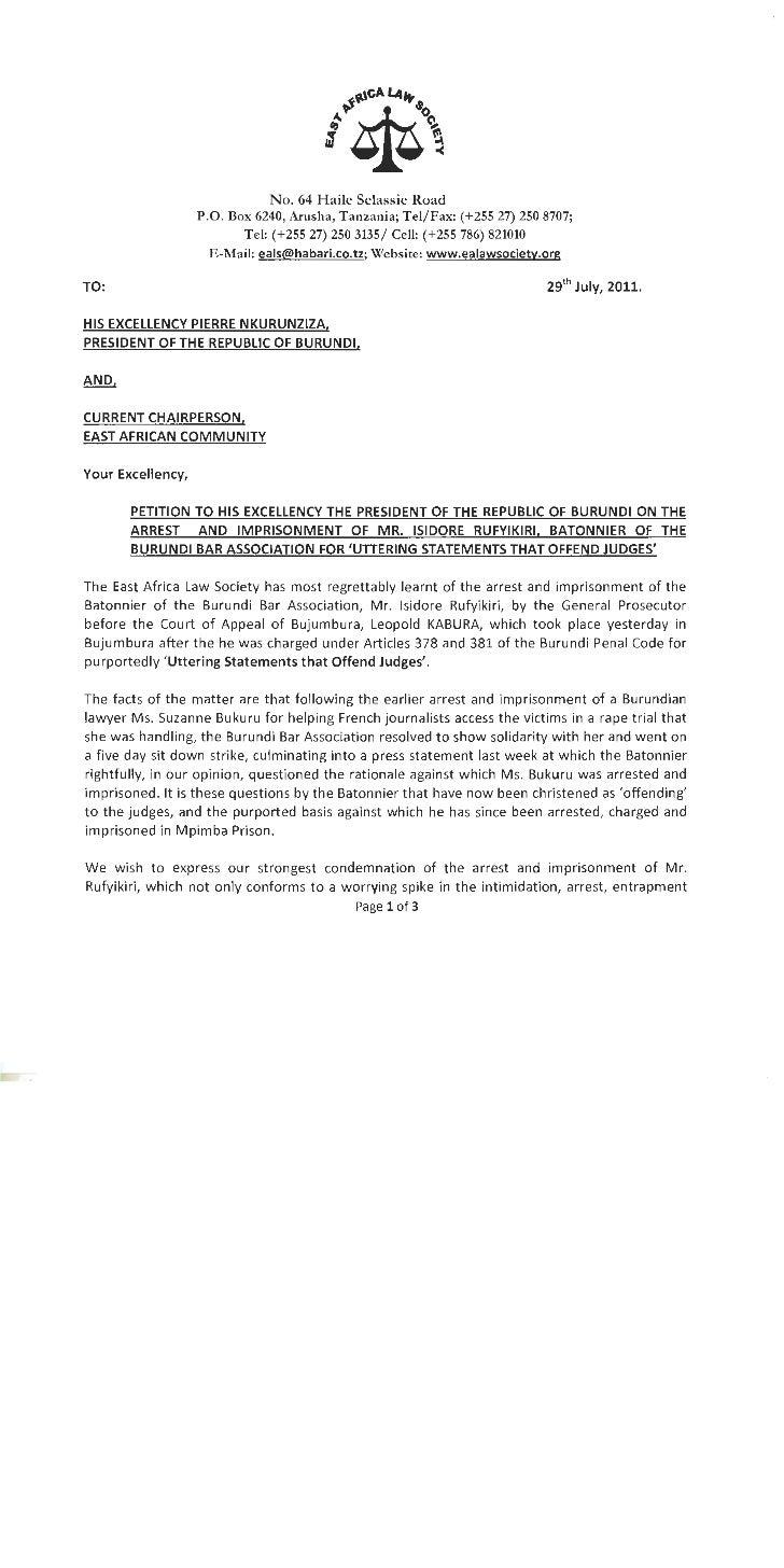 20110729   eals petition to burundi president, h.e. pierre nkurunzinza (on the arrest of mr. isidore rufyikiri, president ...