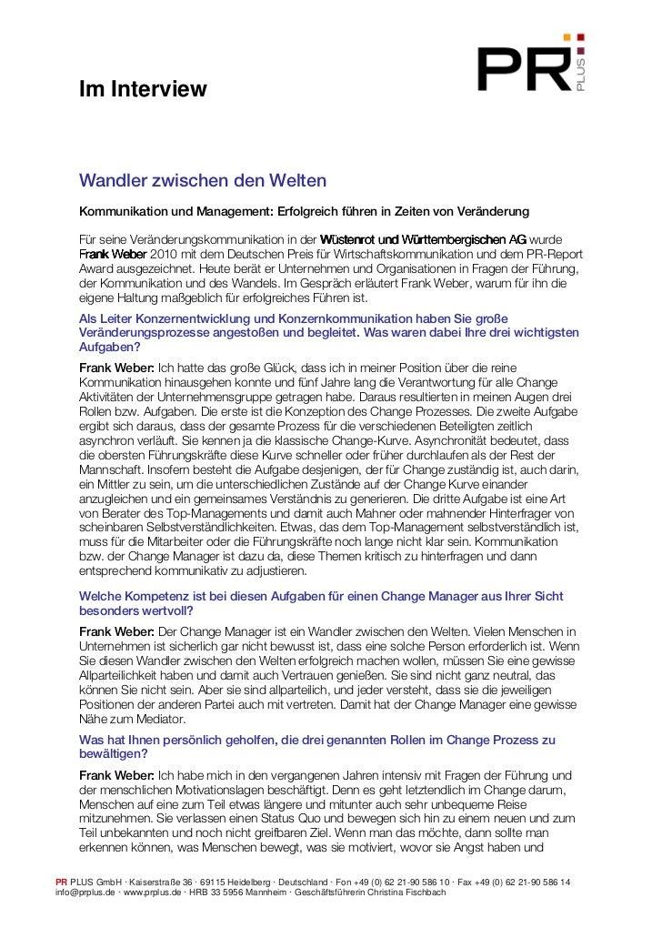 Im Interview     Wandler zwischen den Welten     Kommunikation und Management: Erfolgreich führen in Zeiten von Veränderun...