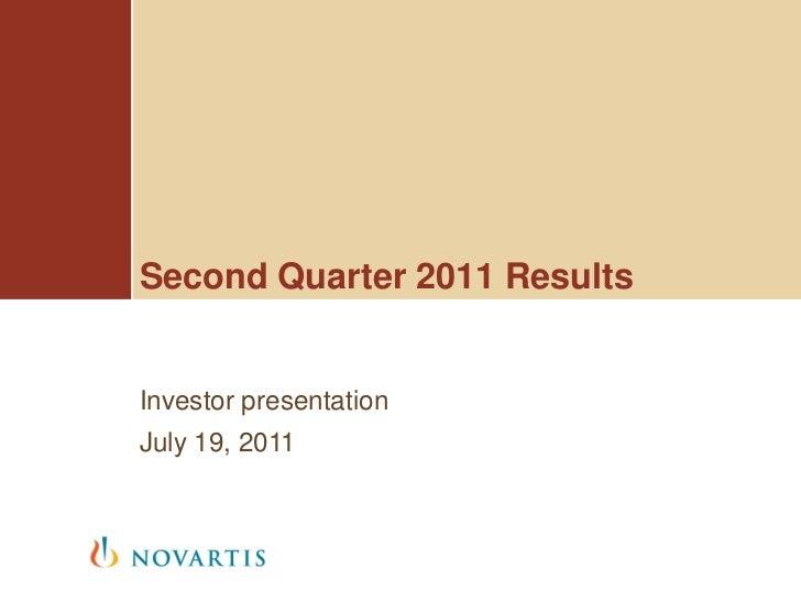 Second Quarter 2011 ResultsInvestor presentationJuly 19, 2011