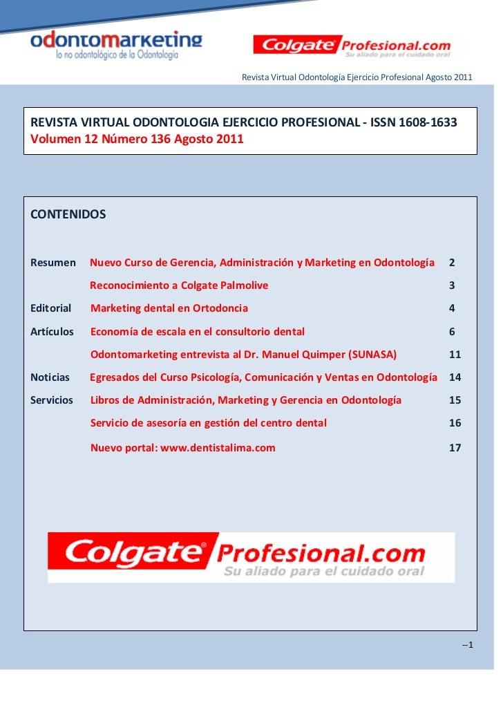 Revista Virtual Odontología Ejercicio Profesional Agosto 2011REVISTA VIRTUAL ODONTOLOGIA EJERCICIO PROFESIONAL - ISSN 1608...