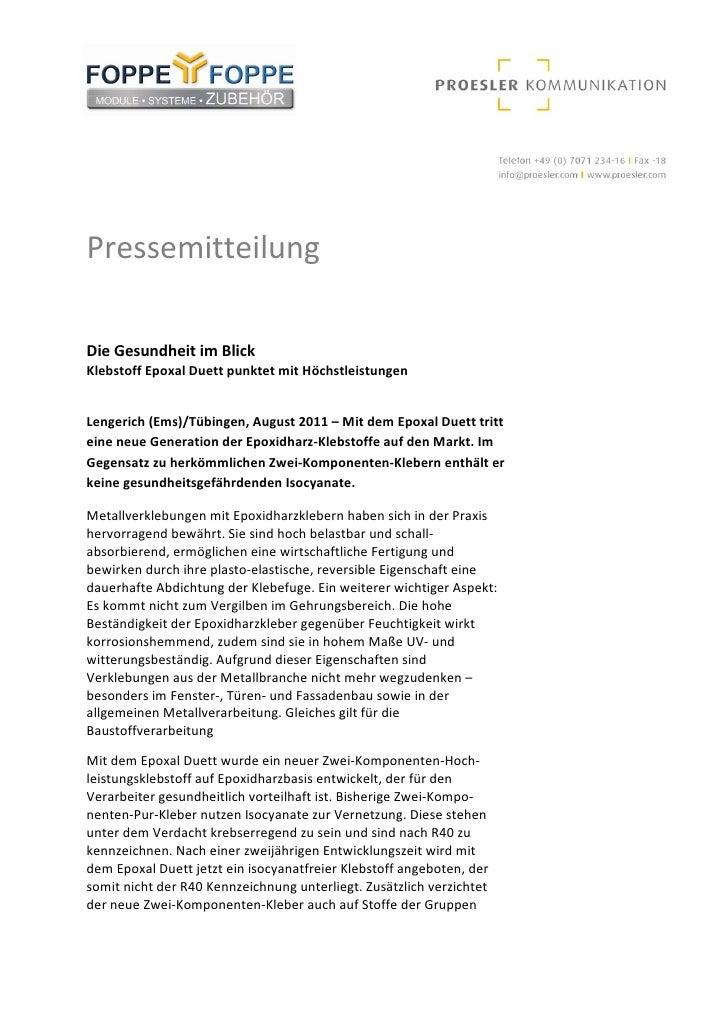 PressemitteilungDieGesundheitimBlickKlebstoffEpoxalDuettpunktetmitHöchstleistungenLengerich(Ems)/Tübingen,A...