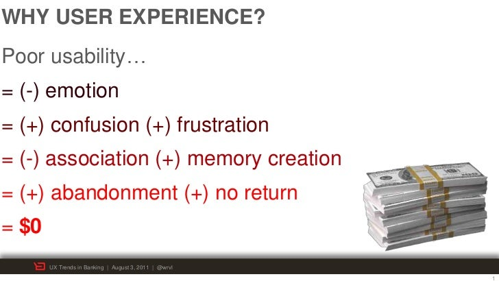 WHY USER EXPERIENCE?Poor usability…= (-) emotion= (+) confusion (+) frustration= (-) association (+) memory creation= (+) ...
