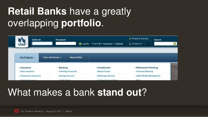 Retail Banks have a greatlyoverlapping portfolio.What makes a bank stand out?  UX Trends in Banking | August 3, 2011 | @wrvl