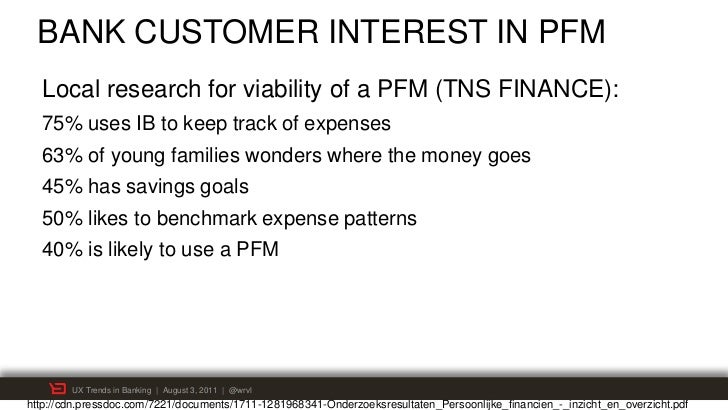 BANK CUSTOMER INTEREST IN PFM  Local research for viability of a PFM (TNS FINANCE):  75% uses IB to keep track of expenses...