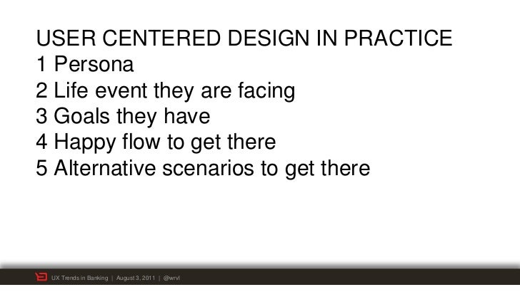 USER CENTERED DESIGN IN PRACTICE1 Persona2 Life event they are facing3 Goals they have4 Happy flow to get there5 Alternati...