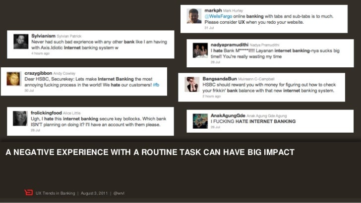 A NEGATIVE EXPERIENCE WITH A ROUTINE TASK CAN HAVE BIG IMPACT      UX Trends in Banking | August 3, 2011 | @wrvl