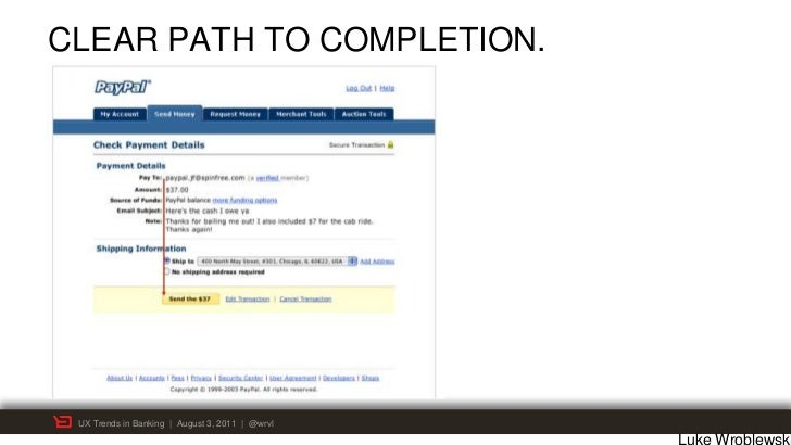 CLEAR PATH TO COMPLETION. UX Trends in Banking | August 3, 2011 | @wrvl