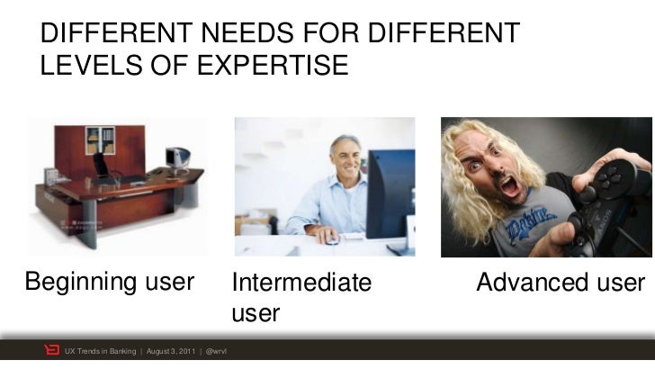 DIFFERENT NEEDS FOR DIFFERENT LEVELS OF EXPERTISEBeginning user                                     Intermediate   Advance...