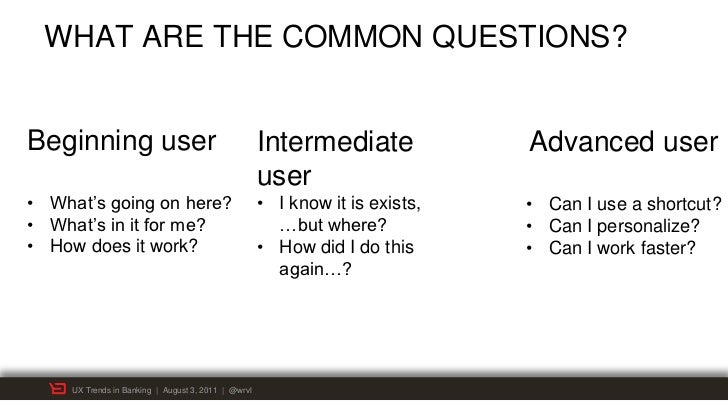 WHAT ARE THE COMMON QUESTIONS?Beginning user                                       Intermediate             Advanced user ...
