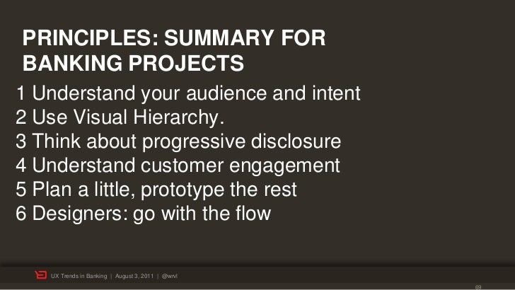 PRINCIPLES: SUMMARY FORBANKING PROJECTS1 Understand your audience and intent2 Use Visual Hierarchy.3 Think about progressi...