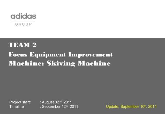 TEAM 2 Focus Equipment Improvement Machine: Skiving Machine Project start: : August 02nd , 2011 Timeline : September 12th ...