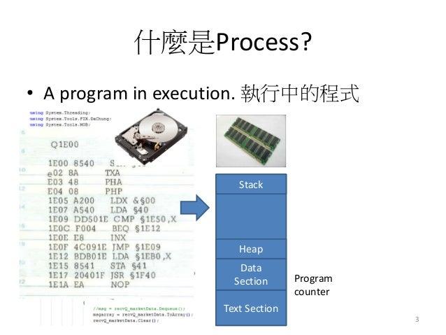 什麼是Process?  •A program in execution. 執行中的程式  3  Text Section  Data Section  Heap  Stack  Program counter