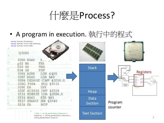 什麼是Process?  •A program in execution. 執行中的程式  3  Text Section  Data Section  Heap  Stack  Program counter  Registers