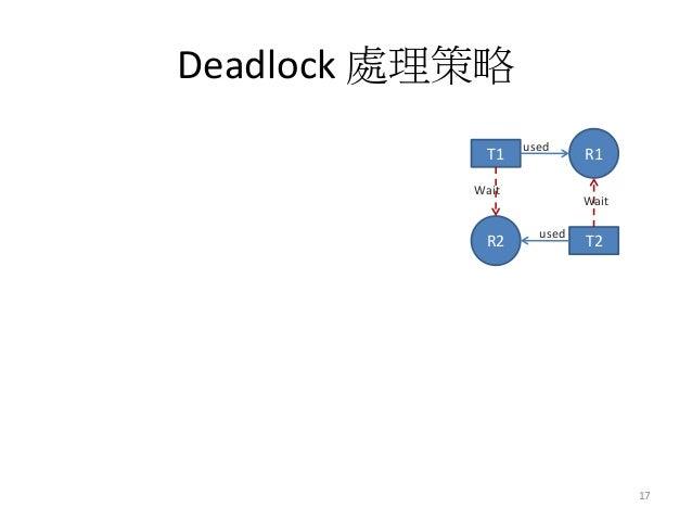 Deadlock 處理策略  17  T1  R1  used  T2  R2  used  Wait  Wait