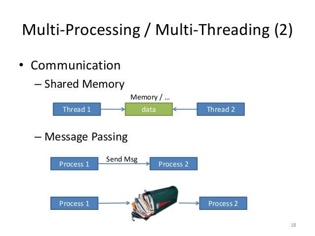 Multi-Processing / Multi-Threading (2)  •Communication  –Shared Memory  –Message Passing  18  Thread 1  data  Thread 2  Me...