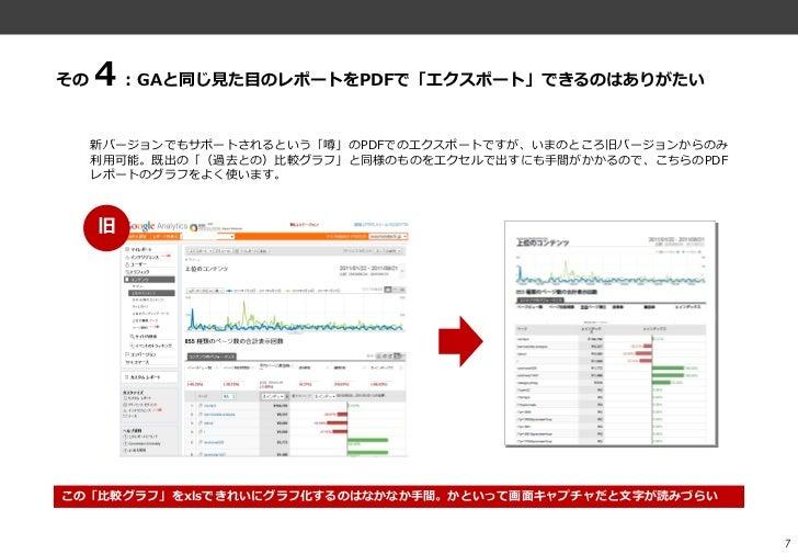その4:GAと同じ見た目のレポートをPDFで「エクスポート」できるのはありがたい     新バージョンでもサポートされるという「噂」のPDFでのエクスポートですが、いまのところ旧バージョンからのみ     利用可能。既出の「(過去との)比較グラ...