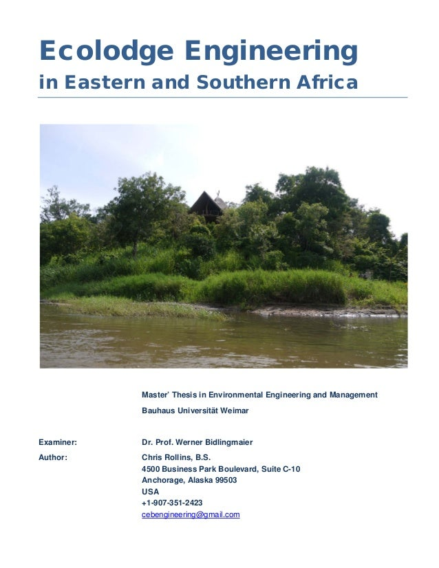 Ecolodge Engineeringin Eastern and Southern Africa            Master' Thesis in Environmental Engineering and Management  ...