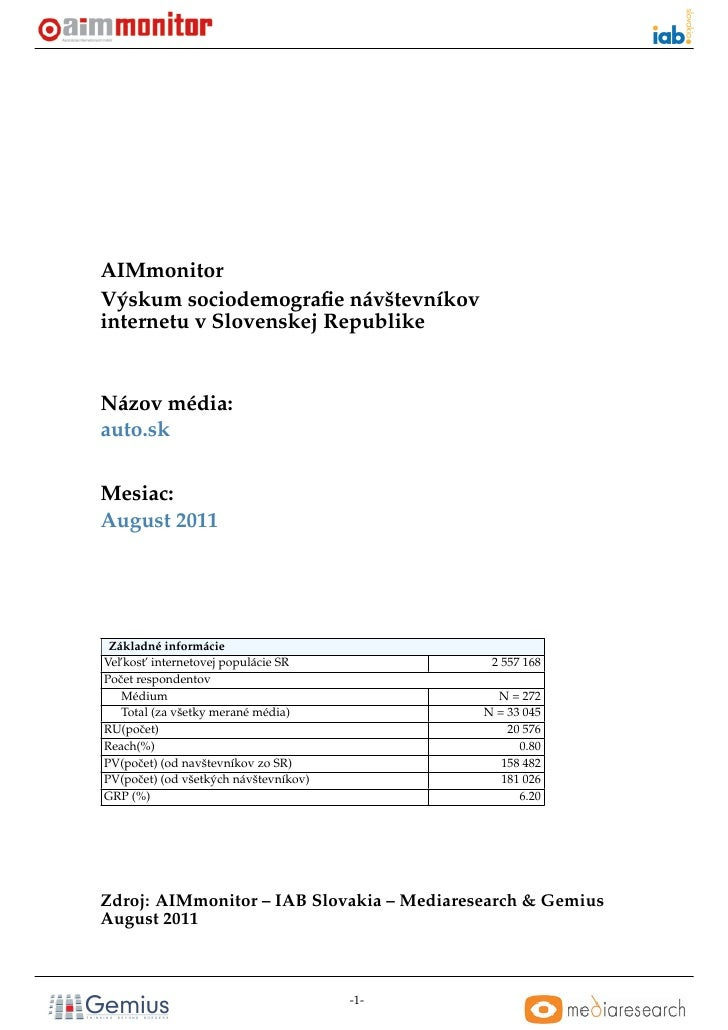 AIMmonitorVýskum sociodemografie návštevníkovinternetu v Slovenskej RepublikeNázov média:auto.skMesiac:August 2011 Základné...