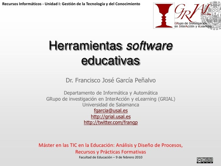 Recursos Informáticos - Unidad I: Gestión de la Tecnología y del Conocimiento                         Herramientas softwar...