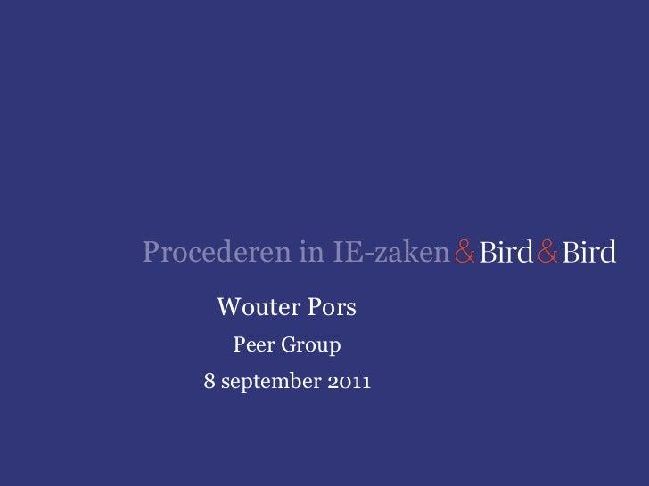 Procederen in IE-zaken     Wouter Pors      Peer Group    8 september 2011