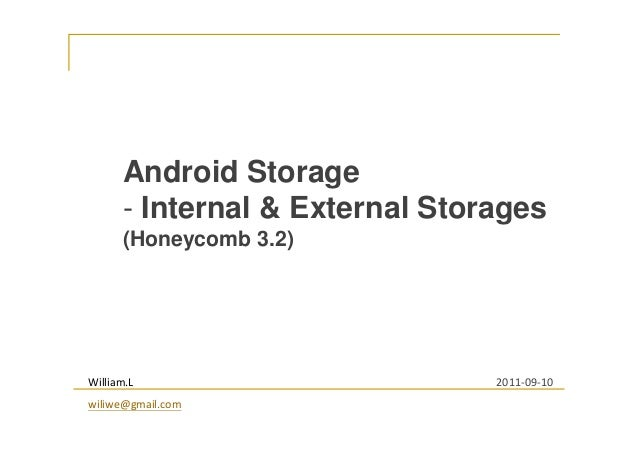 Android Storage - Internal & External Storages (Honeycomb 3.2) William.L wiliwe@gmail.com 2011-09-10
