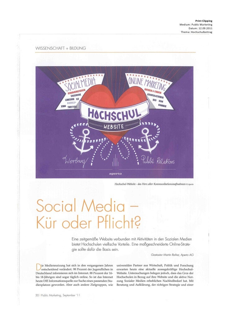 Print ClippingMedium: Public Marketing     Datum: 12.09.2011Thema: Hochschulbeitrag