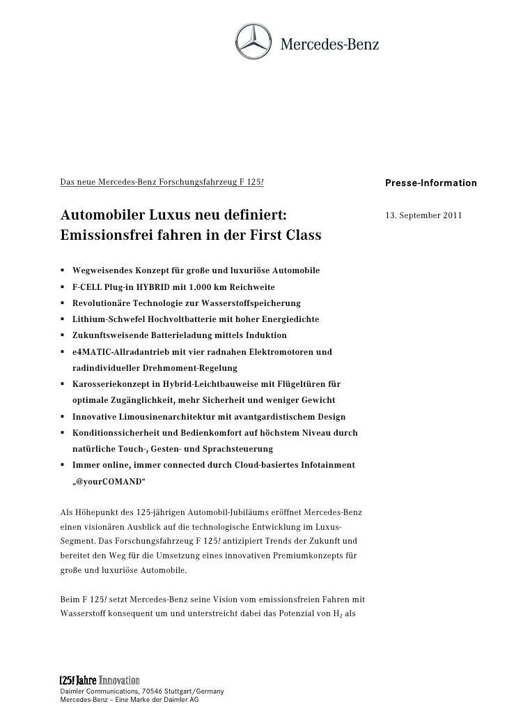 Das neue Mercedes-Benz Forschungsfahrzeug F 125!                              Presse-InformationAutomobiler Luxus neu defi...