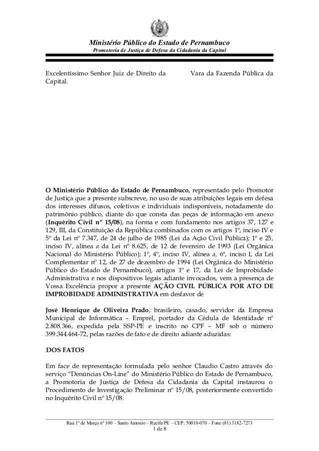 Ministério Público do Estado de Pernambuco Promotoria de Justiça de Defesa da Cidadania da Capital Excelentíssimo Senhor J...